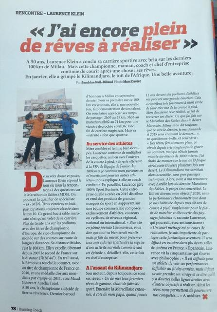 Article du Magazine Running Coach  | Projets Laurence Klein